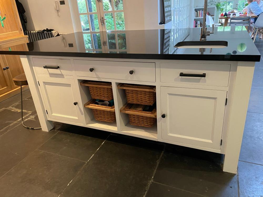 Handmade Painted Wooden Kitchen with Black Granite