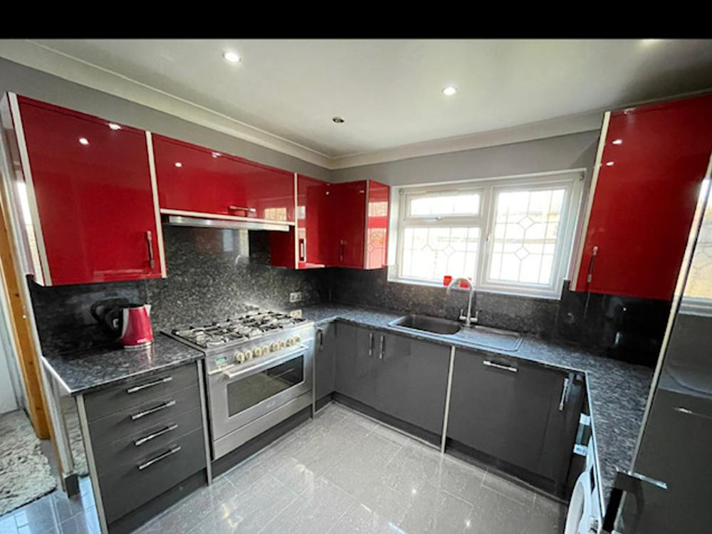 Modern Wren Kitchen with Appliances and Granite Worktops.